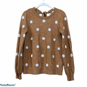 Lucky brand brown balloon sleeve polkadot sweater